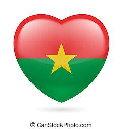 Heart icon of Burkina Faso - I love Burkina Faso. Heart with...