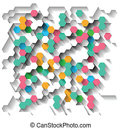 Background with hexagons - Bright technological abstract...