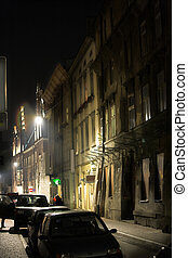 At night - Cityscape at night in Krakow in Poland