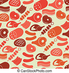 Seamless pattern with meat products