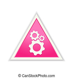 the setup icon - The glossy pink triangle gear icon