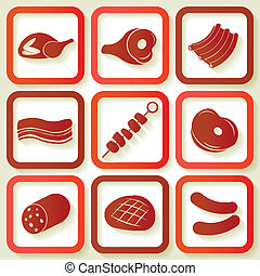 Set of 9 retro icons with meat pieces Eps10