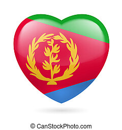 Heart icon of Eritrea - Heart with Eritrean flag colors. I...