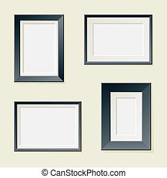 Four Rectangular Frames - Set of four classic picture frames...