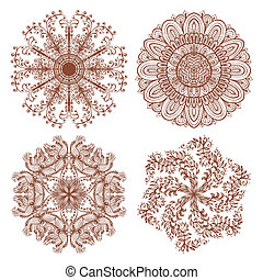 Set of four ethnic ornaments - Set of four hand drawn ethnic...