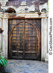 Old Wooden Double Door - An old rustic wooden double door.