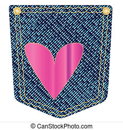 Heart Denim Pocket