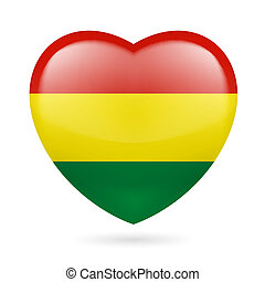 Heart icon of Bolivia - Heart with Bolivian flag colors I...