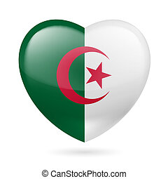 Heart icon of Algeria - Heart with Algerian flag colors I...