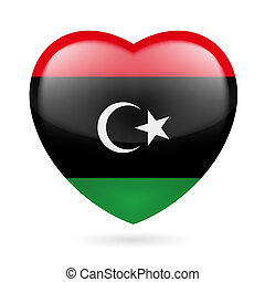 Heart icon of Libya - Heart with Libyan flag colors I love...