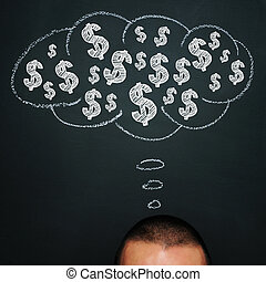 thinking about money - a man over a blackboard with a...