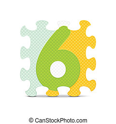 Vector number 6 - Number 6 written with alphabet puzzle -...