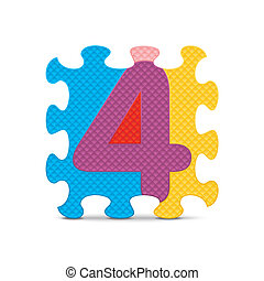 Vector number 4 - Number 4 written with alphabet puzzle -...