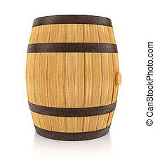 Wooden oaken barrel for beverages storing