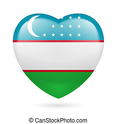 Heart icon of Uzbekistan - Heart with Uzbek flag colors I...