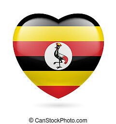 Heart icon of Uganda - Heart with Ugandan flag colors. I...