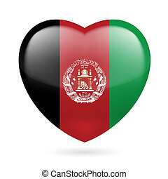 Heart icon of Afghanistan - Heart with Afghan flag colors I...