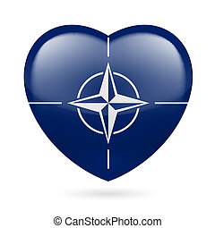 Heart icon of NATO - I love NATO. Heart with flag design