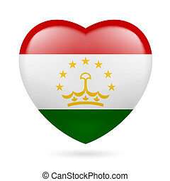Heart icon of Tajikistan - Heart with Tajik flag colors I...