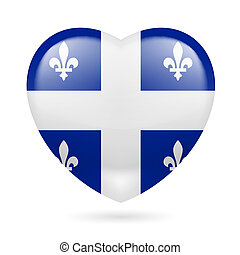 Heart icon of Quebec - I love Quebec. Heart with flag design