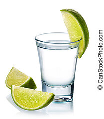 Vodka shot - Glass of vodka shot with fresh lime isolated on...