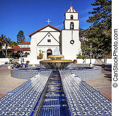 Mexican Tile Fountain Mission San Buenaventura Ventura...