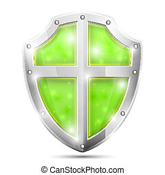 Glossy Magic Green Shield Icon. Vector Illustration.