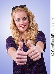 All right - Happy Young Woman Showing Thumb Up Sign