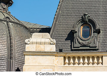 Neoclassical Roof Architecture Detail Close Up