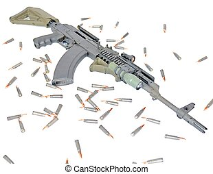 AK-47 - A SPECIAL OPERATION AK-47 WITH ITS AMMO AROUND IT