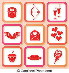 Set of 9 retro pink icons