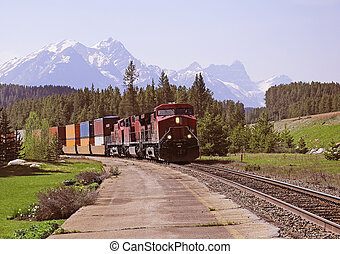 Freight train. - Freight train in Canadian rockies. Lake...