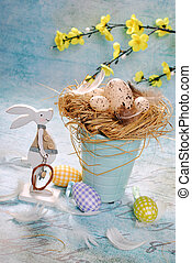 easter decoration in pastel colors - beautiful easter...