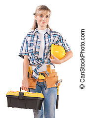 female wearing working clothes with toolbelt holding hardhat...