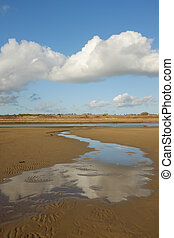 Beach scene. - A clean sandy beach with water flowing to a...
