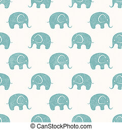 Seamless vector print with cute little elephants