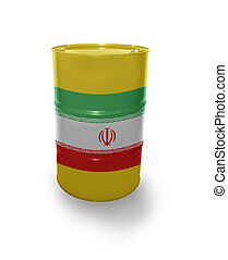 Barrel with Irani flag on the white background