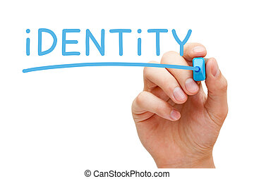 Identity Blue Marker - Hand writing Identity with blue...
