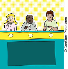 Game Show Contestants - Cartoon of three diverse game show...