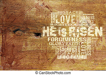 """He Is Risen"" Religious Background - Religious Words on Wood..."