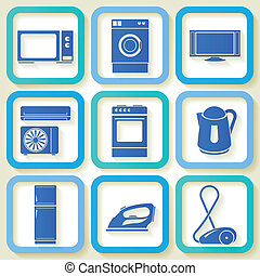 Set of 9 electric appliances - Set of 9 retro icons of...