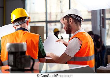 fábrica, trabajadores, planificación