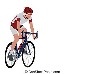 racing bicyclist illustration - vector