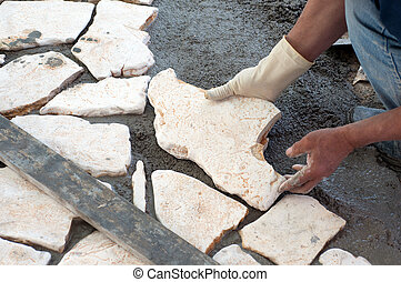 Paving a patio with natural stones