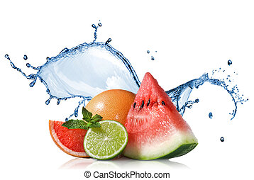 Watermelon, grapefruit and lime with mint and water splash...