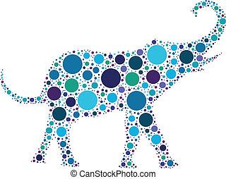 elephant - dotted blue elephant silhouette