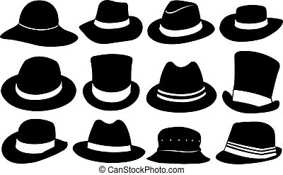 hats - set of different hats isolated