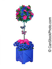 Decorative Artificial Flower in Pot isolated with clipping...