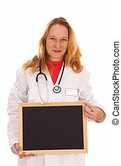 female doctor with stethoscope and empty sign