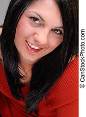 Eye Contact - Beautiful Black Haired Young Woman Looking At...